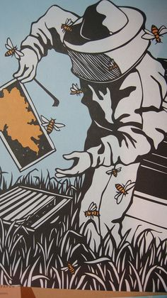 """I like the thin and thick lines together - like a hybrid woodcut/comicbook-brush technique. (""""Honey Bee Art"""" by nikki mcclure)"""