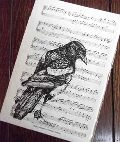 MAGPIE PRINT - love this idea of a nature print on sheet music