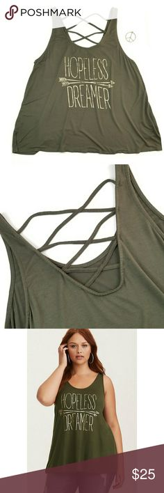 Torrid Hopeless Dreamer Tank Torrid, olive green, hopeless dreamer, tank top, super silky soft, gold metallic quote and arrow graphic, crisscrossing strap back, great condition, tag is missing, size 0 (Large). torrid Tops Tank Tops