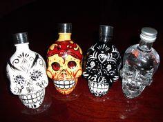 ✿ Crystal Head Vodka ~ Kah Tequila Miniatures Set of 4 Skull Empty Bottles ✿