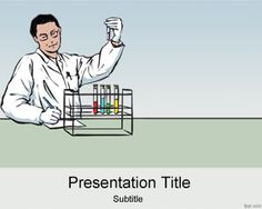 Lab PowerPoint template background is a free lab PPT template slide design with scientist clipart and color test tube