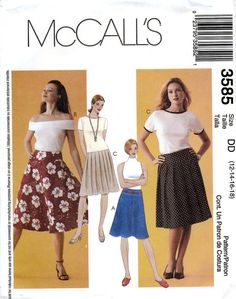 McCall's 3585 Sewing Pattern for Misses' Skirts by retrowithlana