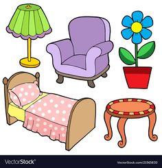 Illustration about Furniture collection 1 on white background - vector illustration. Illustration of chair, decoration, illustration - 7377896 Body Preschool, Free Preschool, Toddler Learning Activities, Kids Learning, Fabric Dolls, Paper Dolls, Autism Crafts, Image Clipart, Clipart Images