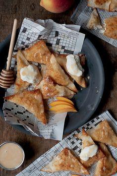 Chai Tea Glazed Peach Ricotta Wonton Fritters