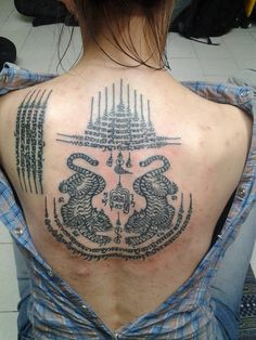 Ha Thaew (5 Rows), Kao Yord (9 Spires) & Suea (Twin Tigers) Sak Yant Thai Tattoos