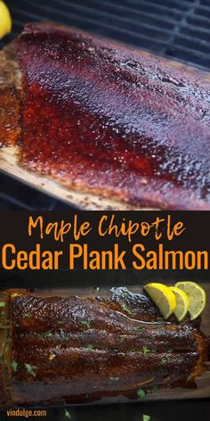 Cedar Plank Salmon is amazing when coated with a sweet and spicy chipotle dry rub, cooked on the grill giving it that smoked influence, and finished with a maple syrup glaze. This is the perfect seafood dinner for grilled food lovers! Traeger Recipes, Smoked Meat Recipes, Grilling Recipes, Smoked Pork, Smoked Salmon Rub Recipe, Smoked Chicken, Salmon Recipes, Fish Recipes, Seafood Recipes