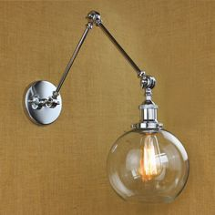 NIUYAO Vintage Industrial Wall Lighting with Round Clear Glass Shade Adjustable Swing Arm Retro Style Antique Bedside Wall Lamp Decor Lighting Fixture Wall Sconces,Brushed Chrome Finish * Learn more by visiting the image link. (This is an affiliate link) Victorian Wall Sconces, Vintage Wall Sconces, Vintage Wall Lights, Rustic Wall Sconces, Modern Sconces, Bathroom Wall Sconces, Vintage Lighting, Swing Arm Wall Lamps, Led Wall Lamp
