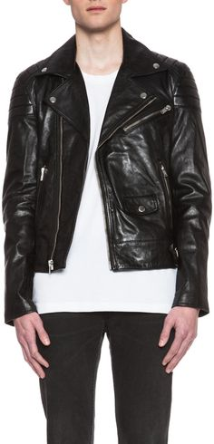 $995, Quilted Leather Motorcycle Jacket by BLK DNM. Sold by Forward By Elyse Walker. Click for more info: http://lookastic.com/men/shop_items/33858/redirect