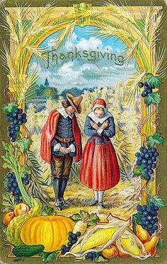 Super Duper Pilgrim Harvest--Vintage Thanksgiving Postcard