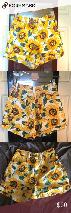High waisted shorts Sunflower printed high waisted shorts with cuffs. Worn once. American Apparel Shorts Jean Shorts