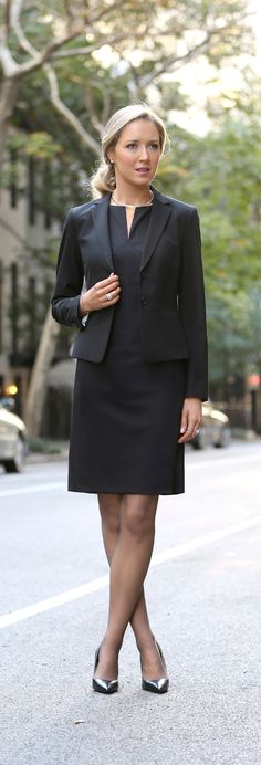 The Classy Cubicle: Owning the Interview. {fashion blog, young professional women, office style inspiration, corporate work wear, fall fashion trends, interview style advice and tips, what to wear, classic black skirt suit, sheath dress, ann taylor, power pieces, classic}