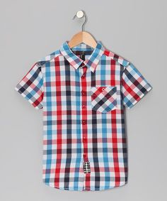 Take a look at this Blue & Red Hakoz Button-Up - Boys by NXL on #zulily #cutiestyle