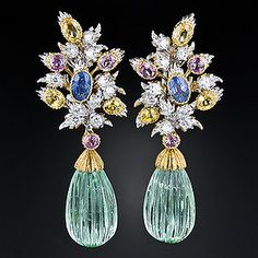 Buccellati Green Beryl and Multi-Colored Sapphire Earrings. Photo Courtesy of Lang Antiques.