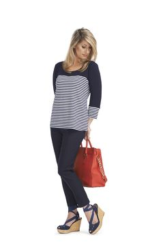 Nautical 3/4 sleeve Navy-White top. Pull on Navy 7/8 pant.