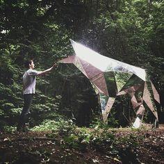 Chrome Wolf, a sculpture by Platonov Pavel. art Amazing Art - X-Wing Fighter Street Art Geometric Sculpture, Art Sculpture, Sculptures, Land Art, Illusion Kunst, Modern Art, Contemporary Art, Street Art, Instalation Art