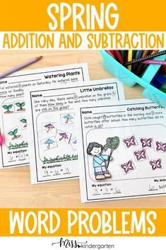 Solve math problems using seedlings, just in time for spring. Spring math story problems. Printable math center worksheets. Counting and Cardinality practice and simple addition practice. Use as homework, center work or morning work. Use to teach kindergartners or first graders about word problems and simple addition and subtraction. Miss Kindergarten, Kindergarten Math Activities, Math Resources, Math Story Problems, Word Problems, Homework Center, Problem Solving Activities, Spring Words, Simple Addition