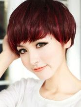 Chic Burgundy Lambskin Short Straight Synthetic Wig For Women