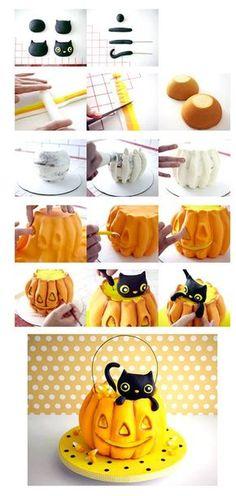 pumpkins cat Kitty Cat Pumpkin Cake How-To Halloween Torte, Bolo Halloween, Theme Halloween, Halloween Treats, Dessert Halloween, Halloween Jack, Halloween Pumpkins, Fondant Cakes, Cupcake Cakes