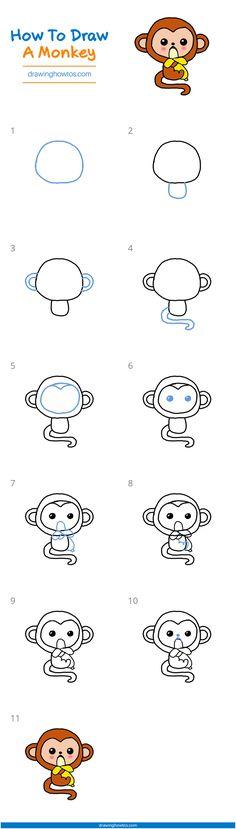 Easy Doodles Drawings, Easy Drawings For Kids, Simple Doodles, Drawing For Kids, Cute Drawings, Simple Drawings, Kawaii Drawings, Monkey Drawing Easy, Simple Cat Drawing