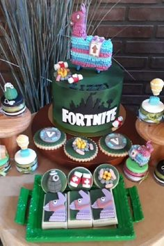 Check out this excellent Fortnite-themed birthday party! The cake is a blast! See more party ideas and share yours at CatchMyParty.com