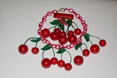 Vintage Rare! 1930's Bakelite Cherries Cherry Celluloid Chain Necklace & Brooch  #StrandStringNecklacebroochpin