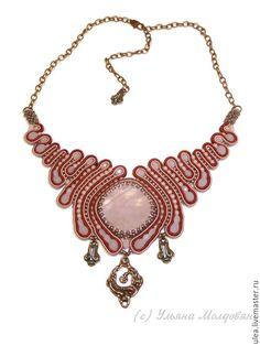 Купить Колье с розовым кварцем сутажное - бордовый, розовый, бронзовый, повседневное колье, офисное украшение
