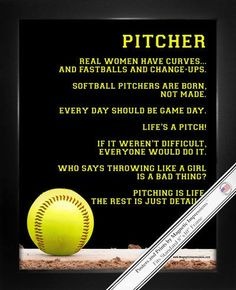 "Softball Pitcher Poster Print features funny softball sayings. It's a cute gift for girls who loves to play softball. ""Who says throwing like a girl is a bad thing?"" is just one inspirational softball"