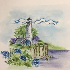 Art Impressions light house watercolor handmade card.