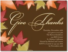 Thanks For All - Studio Basics: Thanksgiving Party Invitations - Design Collective - Brown : Front