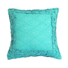 Cottage Home Pretty Teal Ruffled Throw Pillow - Overstock™ Shopping - Great Deals on Cottage Home Throw Pillows