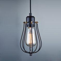 Ecopower Vintage Style Industrial Hanging Light Black Mini Pendant Wire Cage Lamp - - Amazon.com