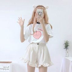 Ulzzang Fashion, Harajuku Fashion, Kawaii Fashion, Cute Fashion, Girl Fashion, Outfits Kawaii, Kawaii Clothes, Anime Outfits, Korean Fashion Summer