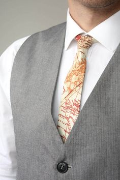 Mens Tie TC112 Map printed tie Brown necktie 100%Cotton