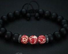Mens Bracelet, Adjustable Bracelet, Jewelry For Men and Women, Red Bracelet, Gemstone Bracelet, Mothers Day Gift