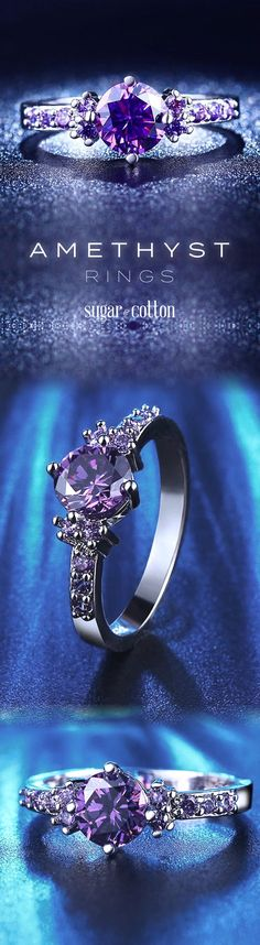 Have all eyes on you with this tyrian amethyst ring made of 925 sterling silver! Bridal Jewelry, Jewelry Box, Jewelery, Jewelry Accessories, Jewelry Design, Unique Jewelry, Silver Jewellery, All Things Purple, Amethyst Rings