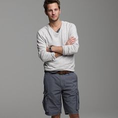 Sweater with cargo shorts. Had not thought about this look before, but I dig it.
