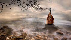 инструментальная музыка, успокаивающая музыка, мягкая музыка~#Relaxing G... Hd Wallpaper Desktop, Wallpapers, Bird Artwork, Digital Art, Birds, Clouds, Sea, World, Water