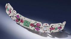 Brazalete Tutti-frutti Art Deco en esmalte, diamantes y piedras preciosas
