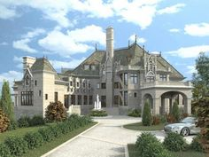 Plan Name: Chateau Novella  This majestic storybook castle is the perfect home for any family, providing a wealth of modern comforts within. The two-story grand room welcomes guests with its grandeur. The round master suite, along with its adjoining sitting area, His and Her baths, and walk-in closets, is located on the main floor for privacy.