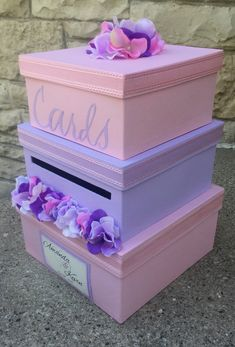Custom Wedding Card Box 3 Tier Holder Square Blush And Lilac