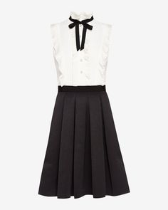 Pleated neck tie dress - Black | Dresses | Ted Baker