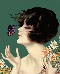Shop Vintage Art Deco Lady Butterfly Pretty Flowers Square Sticker created by artbymar. Personalize it with photos & text or purchase as is! Vintage Prints, Vintage Ads, Vintage Images, Vintage Girls, Vintage Pictures, Art Pictures, Pinup Art, Girls With Flowers, Pretty Flowers