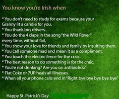 you know you're irish when - Bing Images