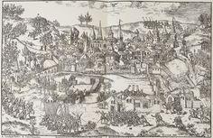 Le Siège de Poitiers, juillet à septembre 1569, Tortorel et Perrissin- Remontant du Périgord, Coligny met le siège devant Poitiers: la ville résiste victorieusement aux bombardements des réformés. Le baptistère St-Jean et la cathédrale, au centre de la ville, sont représentés de manière très stylisée. Le château de Poitiers, maintenant disparu, en haut à droite, arbore la bannière catholique. Sans évoquer l'échec du siège, les légendes insistent sur l'ingéniosité des troupes de  Coligny Poitiers, Landsknecht, City Photo, Centre, Vintage World Maps, Catholic, Cities, September, Painted Canvas