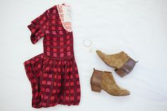 long-er dress with ankle boots