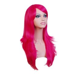 """28"""" Long Wavy Hair Heat Resistant Curly Cosplay Party Costume Wig Cap Rose Pink 