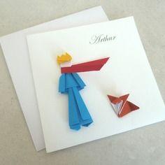 Faire part de naissance le petit prince en origami pour garçon - carte double irisé cigogne