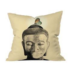 Enlightenment is within reach when you add this calming throw pillow to your living room space. The colorful butterfly perched on Buddha's head is a simple reminder of the delicate beauty that exists i...  Find the Enlightenment Throw Pillow, as seen in the La Vie Bohème Collection at http://dotandbo.com/collections/la-vie-boheme?utm_source=pinterest&utm_medium=organic&db_sku=91587