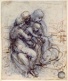 Leonard de Vinci - Renaissance - Etude pour la Ste Anne