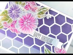 card making videoL Papertrey Ink Make it Monday Colored Vellum Flowers . gorgeous coloring with Q-tips . luv these tutorials full of useful tips . Card Making Tutorials, Card Making Techniques, Making Ideas, Vellum Crafts, Paper Crafts, Color Card, Colour, Card Sketches, Copics